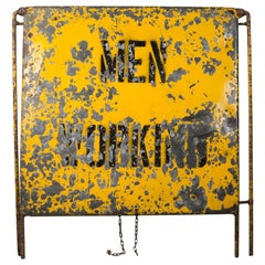 "Distressed a Frame Metal ""Men Working"" Road Sign, circa 1930"