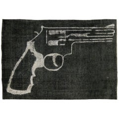 Distressed and Overdyed Charcoal Persian Rug with Revolver Gun Design