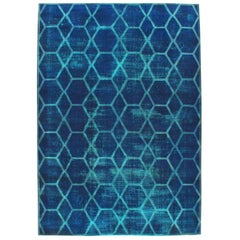 Distressed and Overdyed Handmade Persian Large Room Size Honeycomb Rug