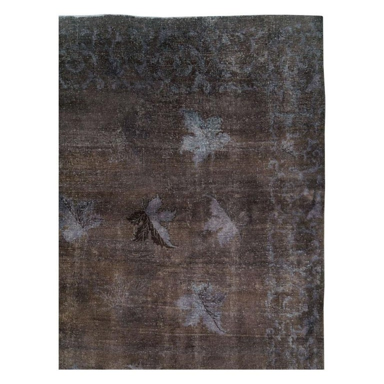 Modern Distressed and Overdyed Handmade Persian Mashad Rug in Charcoal For Sale