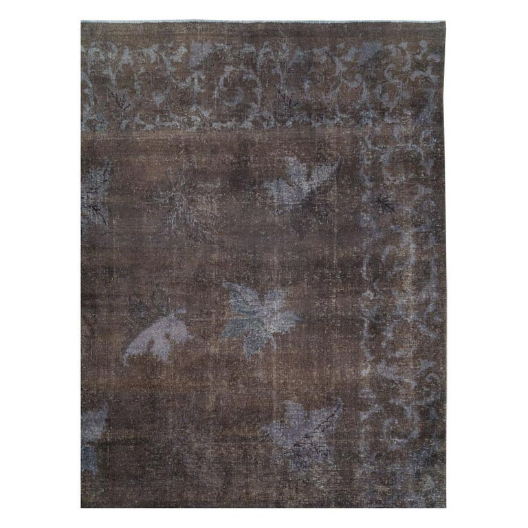 Hand-Knotted Distressed and Overdyed Handmade Persian Mashad Rug in Charcoal For Sale