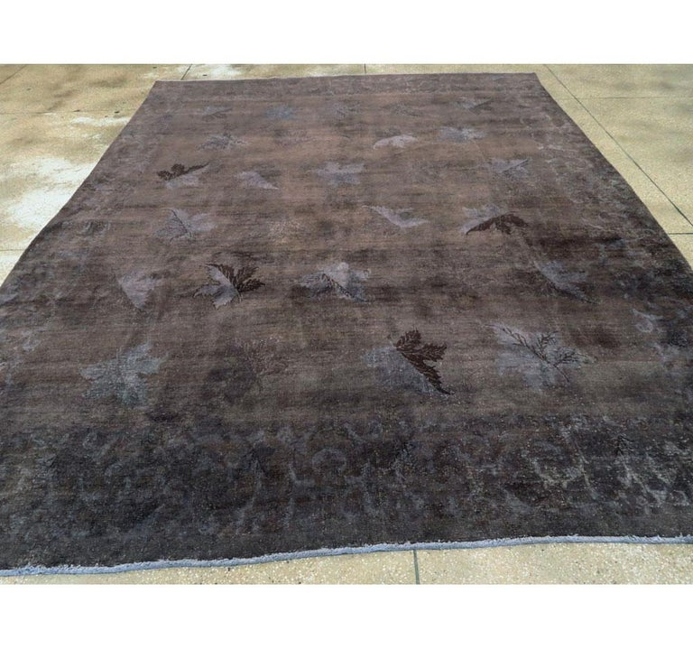 Distressed and Overdyed Handmade Persian Mashad Rug in Charcoal In Distressed Condition For Sale In New York, NY
