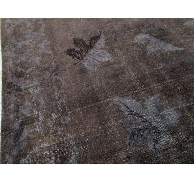Contemporary Distressed and Overdyed Handmade Persian Mashad Rug in Charcoal For Sale