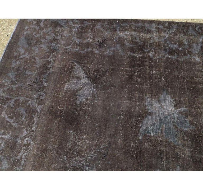 Wool Distressed and Overdyed Handmade Persian Mashad Rug in Charcoal For Sale