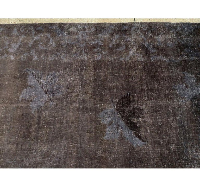 Distressed and Overdyed Handmade Persian Mashad Rug in Charcoal For Sale 1