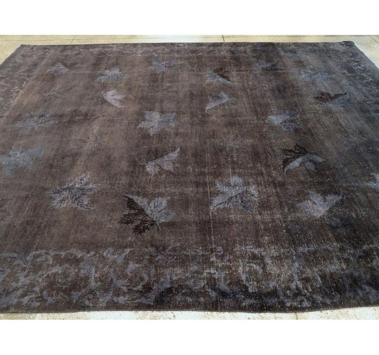 Distressed and Overdyed Handmade Persian Mashad Rug in Charcoal For Sale 2