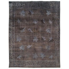 Distressed and Overdyed Handmade Persian Mashad Rug in Charcoal
