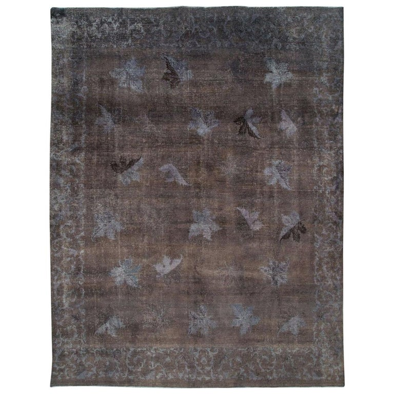 Distressed and Overdyed Handmade Persian Mashad Rug in Charcoal For Sale