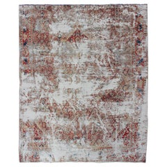 Distressed and Rustic Antique Persian Mahal Rug with Red and Navy Blue Accents