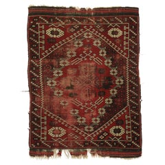 Distressed Antique Afghani Rug with with Adirondack Lodge Style