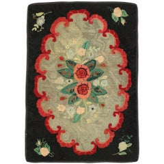 Distressed Antique American Hooked Floral Rug with Cozy Cottage Colonial Style