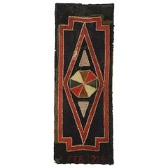 Distressed Antique American Hooked Rug with Midcentury Folk Art Style