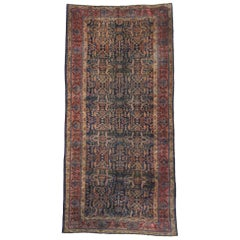 Distressed Antique Bibikabad Persian Palace Size Rug with Luxe Rustic Style