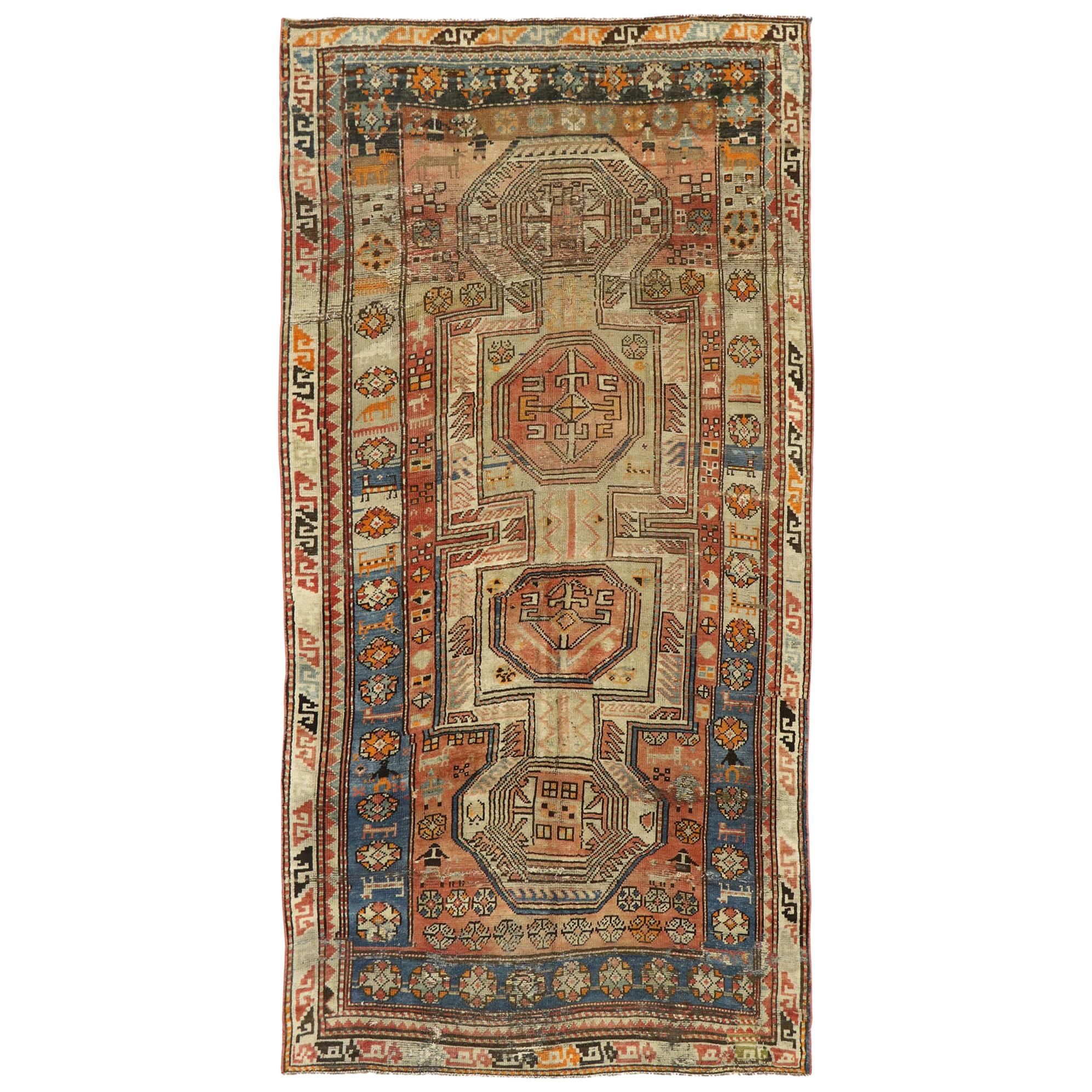 Distressed Antique Caucasian Kazak Tribal Rug, Wide Hallway Runner