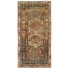 Distressed Antique Caucasian Kazak Tribal Rug, Wide Hallway Runner