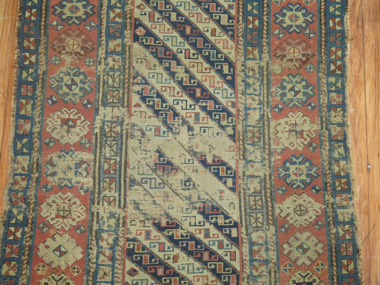 Tribal Distressed Antique Caucasian Runner For Sale