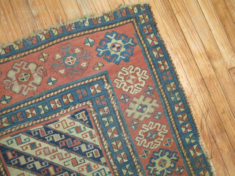 Hand-Woven Distressed Antique Caucasian Runner For Sale