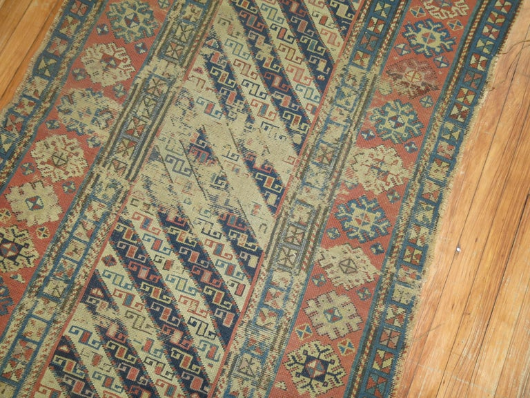 Distressed Antique Caucasian Runner In Distressed Condition For Sale In New York, NY