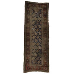 Distressed Antique Caucasian Shirvan Boteh Carpet Runner, Hallway Runner