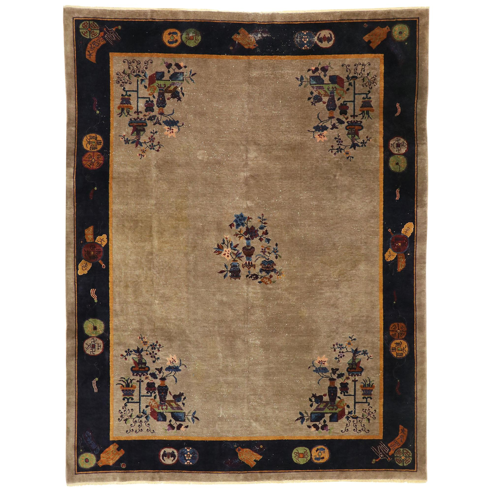 Distressed Antique Chinese Peking Rug with Traditional Chinoiserie Style