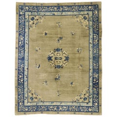 Distressed Antique Chinese Rug with Romantic Chinoiserie Style