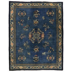Distressed Antique Chinese Rug with Traditional Chinoiserie Style