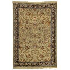 Distressed Antique European Spanish Area Rug with Arts & Crafts Style