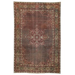 Distressed Antique Indian Agra Rug with Rustic Jacobean Old World Style