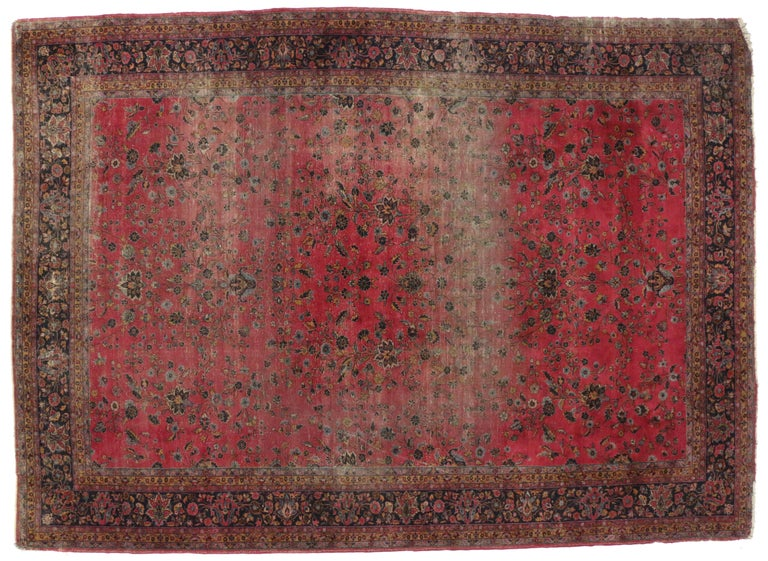 Distressed Antique Indian Palace Rug with Victorian Style and Mughal Design In Distressed Condition For Sale In Dallas, TX
