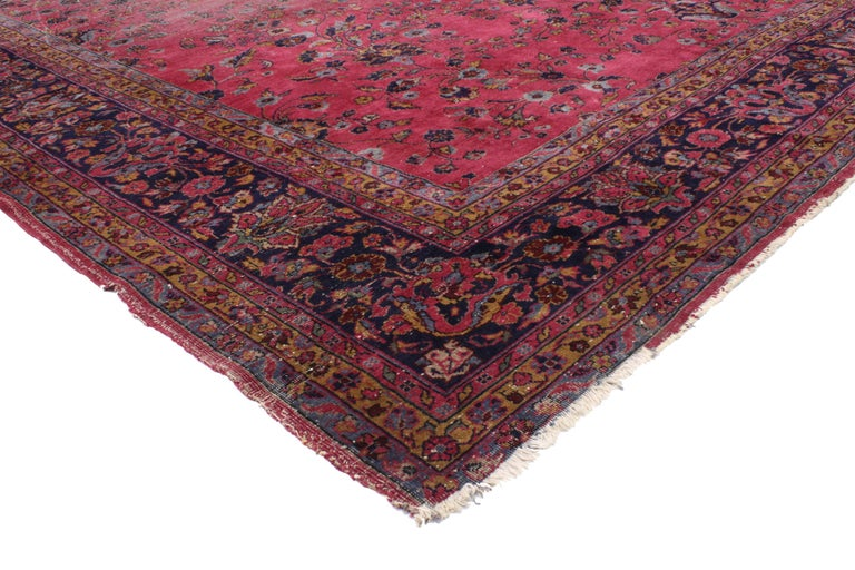 20th Century Distressed Antique Indian Palace Rug with Victorian Style and Mughal Design For Sale