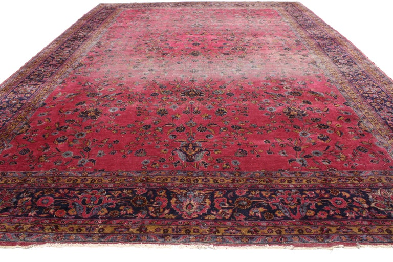 Wool Distressed Antique Indian Palace Rug with Victorian Style and Mughal Design For Sale