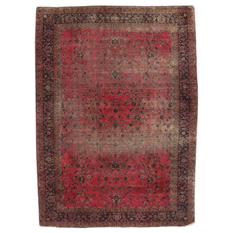 Distressed Antique Indian Palace Rug with Victorian Style and Mughal Design For Sale