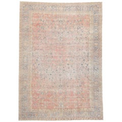 Distressed Antique Indian Rug with French Provincial and Georgian Style
