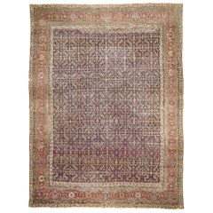 Distressed Antique Mahal Rug with Rustic American Colonial Style