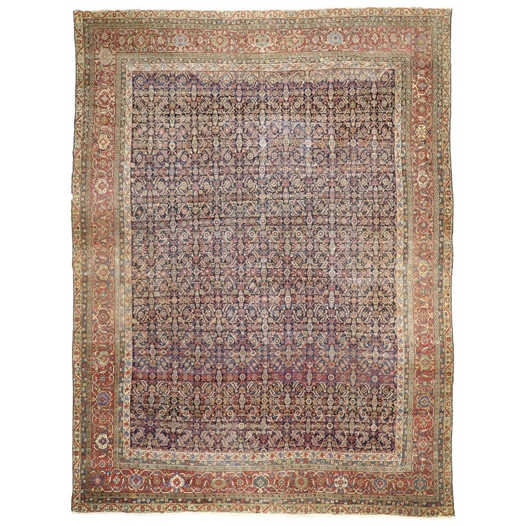 Distressed Antique Mahal Rug With Rustic American Colonial