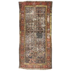 Distressed Antique Malayer Gallery Rug, Weathered and Worn Hallway Runner
