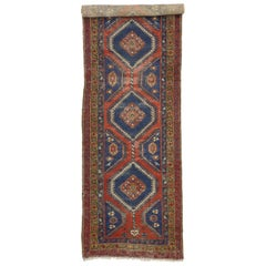 Distressed Antique Persian Azerbaijan Runner with Industrial Tribal Style