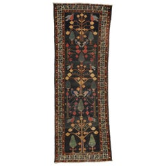 Distressed Antique Persian Bakhtiari Runner with Directional Tree of Life Design