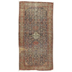 Distressed Antique Persian Farahan Gallery Rug with Modern Industrial Style