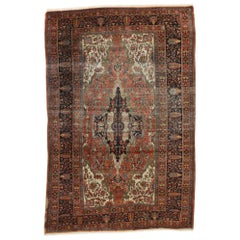 Distressed Antique Persian Farahan Rug Modern Rustic English Manor Style