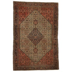 Distressed Antique Persian Farahan Rug withy Rustic Craftsman Style