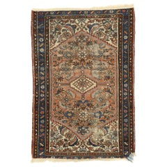 Distressed Antique Persian Hamadan Accent Rug with Romantic Industrial Style