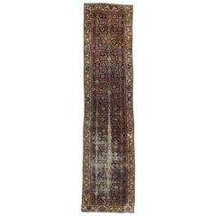 Distressed Antique Persian Hamadan Long Hallway Runner with Mina Khani Design