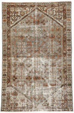 Distressed Antique Persian Hamadan Rug with Modern Rustic Artisan Style