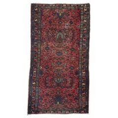 Distressed Antique Persian Hamadan Rug with Rustic English Manor Tudor Style