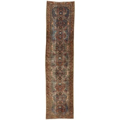 Distressed Antique Persian Hamadan Runner, Industrial Hallway Runner