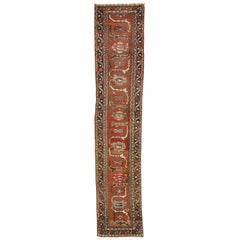 Distressed Antique Persian Hamadan Runner with Industrial Jacobean Style