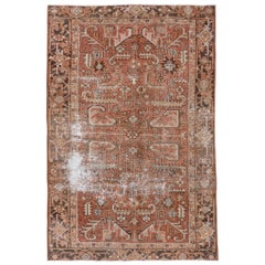 Distressed Antique Persian Heriz Carpet, Rust Field, Dark Gray Borders
