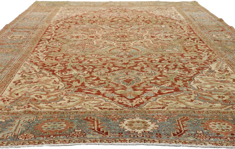 Heriz Serapi Distressed Antique Persian Heriz Design Rug with Rustic Artisan Cottage Style For Sale
