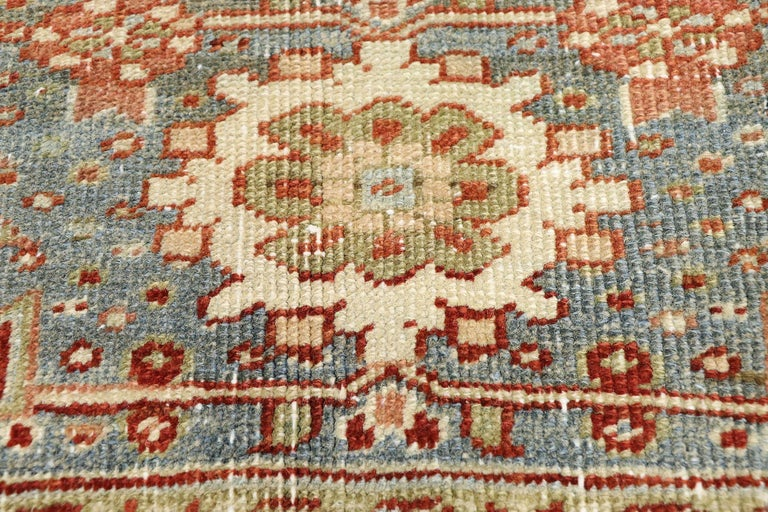 Turkish Distressed Antique Persian Heriz Design Rug with Rustic Artisan Cottage Style For Sale